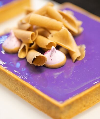 ALMOND INSPIRATION TART WITH FROMAGE BLANC, VIOLET