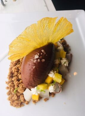 """Banjar"" Crémeux with Tropical Fruits & Almond Crunch"