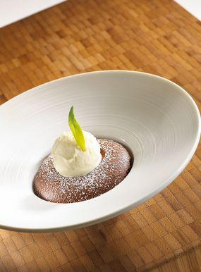 Chocolate Soufflé & verbena iced milk