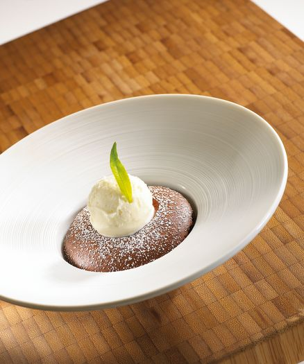 Chocolate Soufflé & verbena iced milk