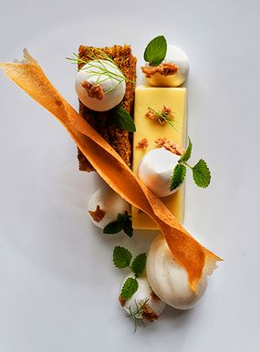 Orange Passion Cream with Carrot Buckwheat cake and Miso-Vanilla Ice Cream