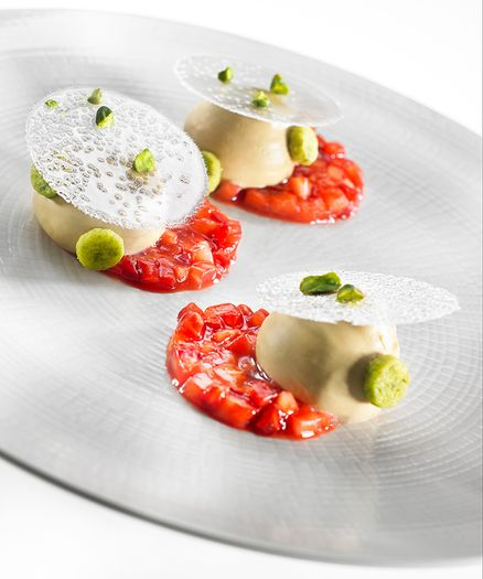 Strawberry Pistachio Plated Dessert