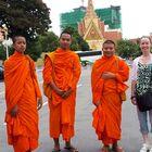 Amanda O'Brien with Buddhist Monks in Cambodia