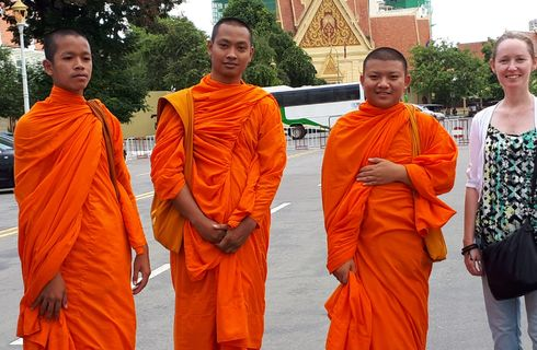 Amanda O'Brien with Buddhist Monks in Cambodia