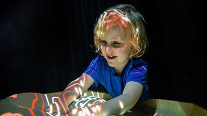 Child enjoying Soundpit at Southbank Centre