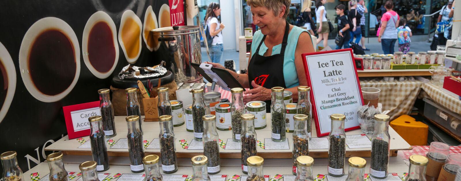 Southbank Centre Food Market.Stall 5 - Lulin Teas & Flower Station.August 2016
