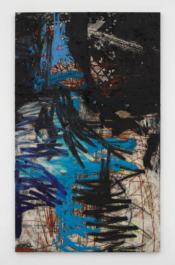 Oscar Murillo, manifestation, 2019-2020 Oil, oil stick, cotton thread and graphite on canvas, velvet and linen, 255 x 155 cm