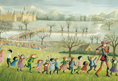Illustration of children dancing in a long line