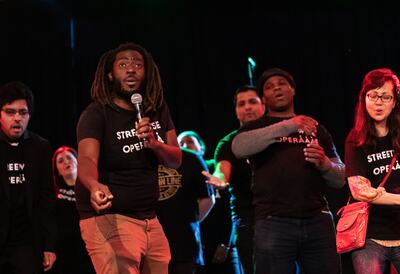 Streetwise Opera performing on-stage