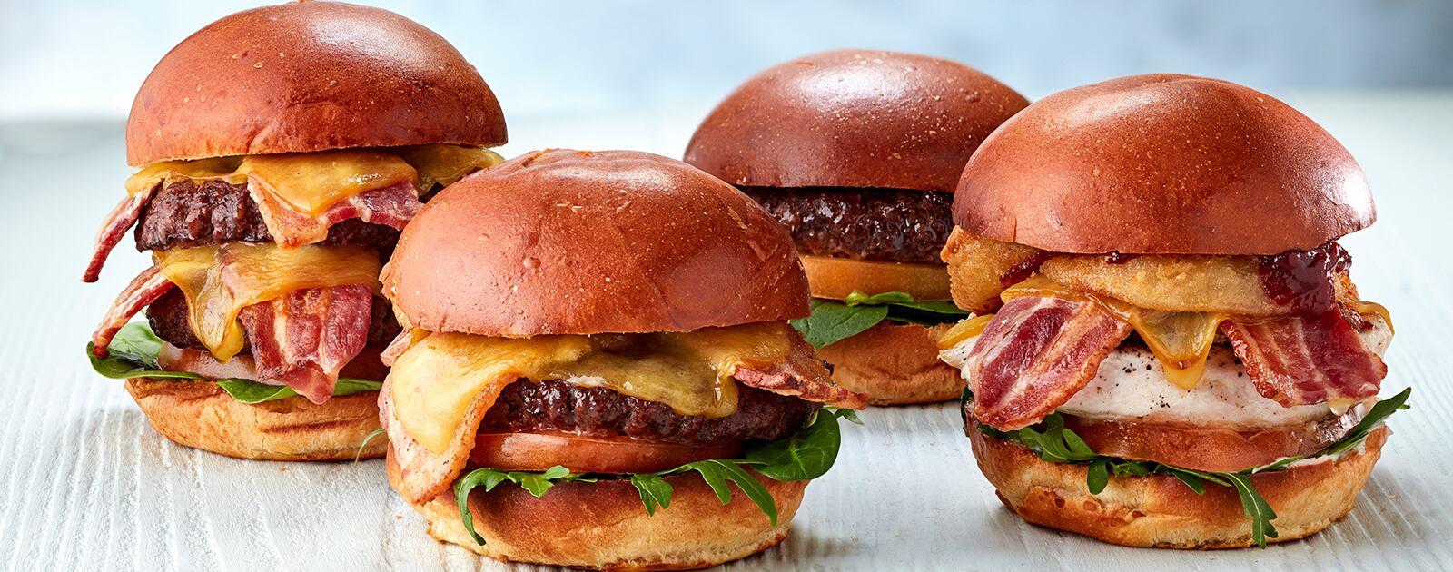 Four bacon burgers