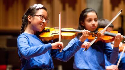 Young musicians performing on stage