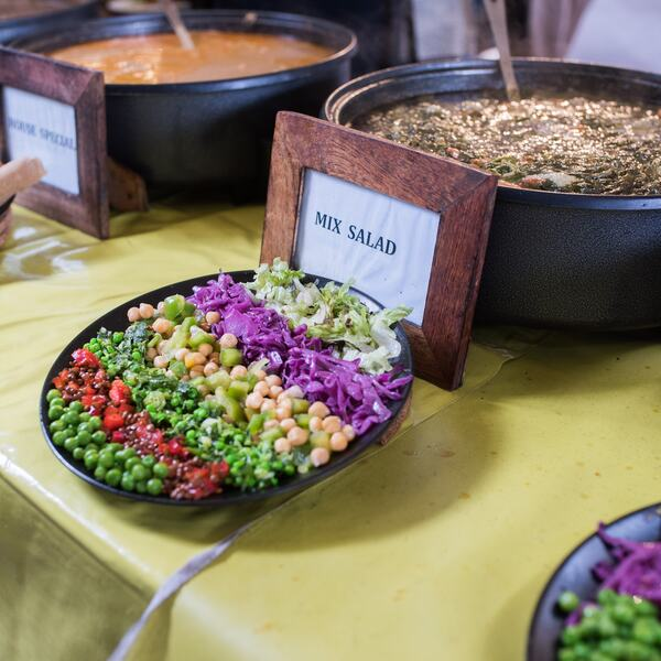 A photo of salads and stews at the Ethiopian food stall Ethiopiques, at Southbank Centre Food Market
