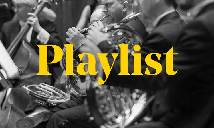 Graphic depicting members of an orchestra performing at Southbank Centre, overlayed by the word 'Playlist'