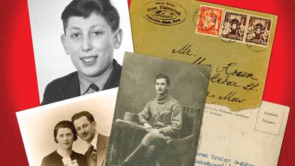 A collage of old photographs and envelopes