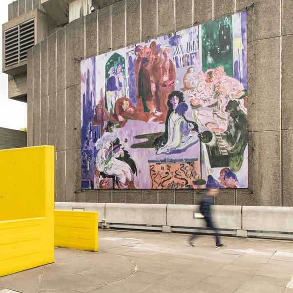 Salman Toor, Music Room (detail), 2021, Oil on canvas, 259.1 x 205.7 cm. Hayward Gallery Billboard 2021