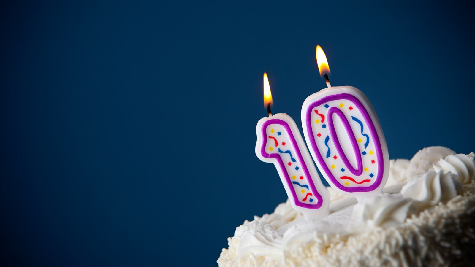 A birthday cake with a '10' candle on top