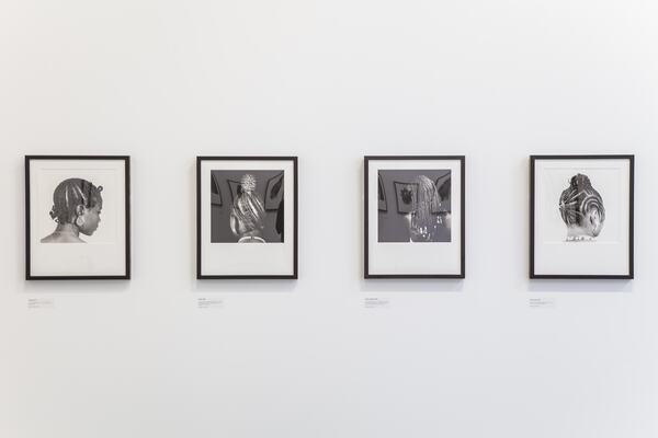 Installation View of HAIRSTYLES AND HEADDRESSES by artist,  J.D 'OKHAI OJEIKERE