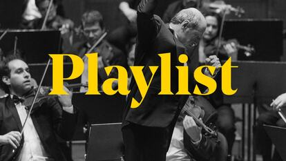 The word 'playlist' over the top of a black and white image of an orchestra conductor