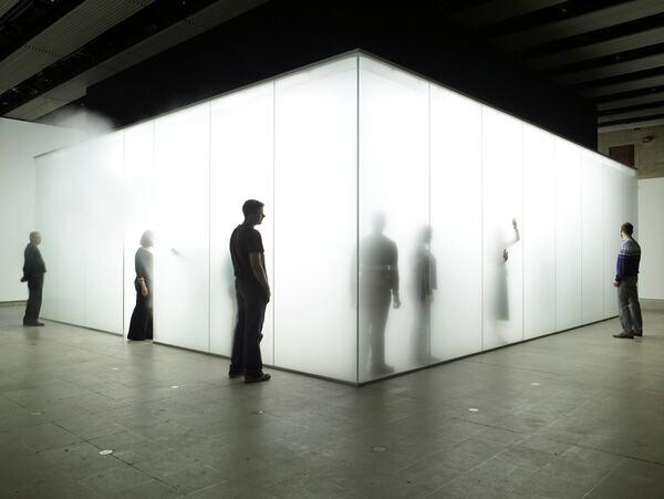 Visitors in Light Installation by artist, Antony Gormley at Hayward Gallery