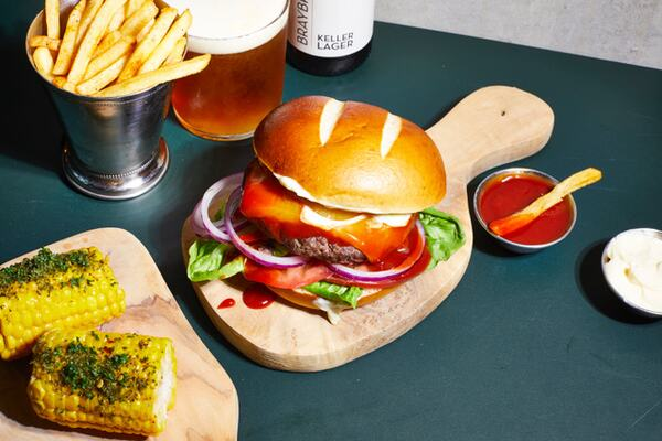 Burger, chips and corn on the cob from Spiritland new menu 2021