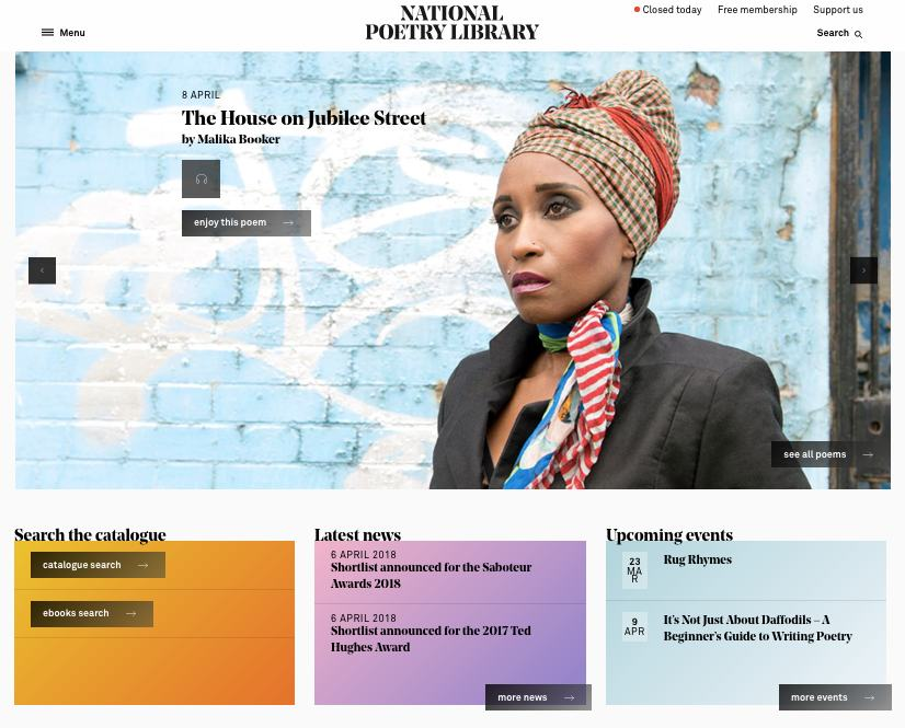 Poetry Library poem a day homepage2