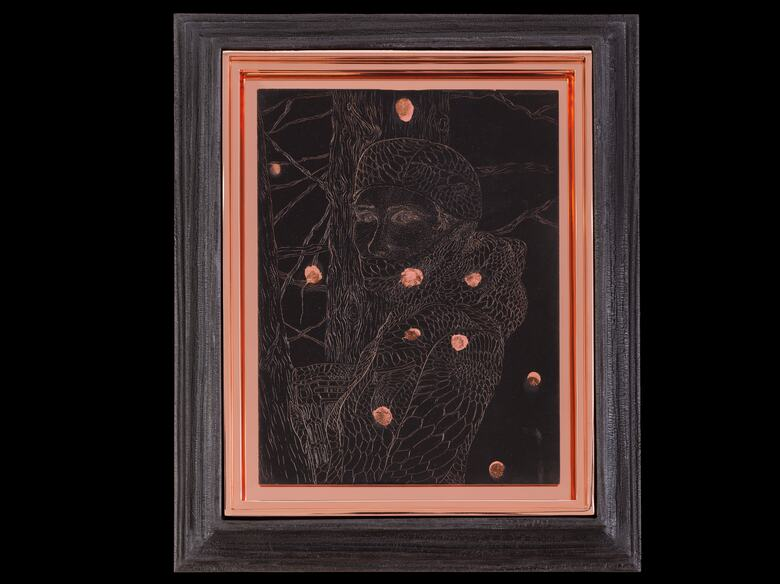 Matthew Barney, Redoubt: Diana, 2018. One electroplated copper plate with vinegar patina and seven engravings, on asphaltum ground in copper and charred pine frames. ©Matthew Barney, courtesy Gladstone Gallery, New York and Brussels