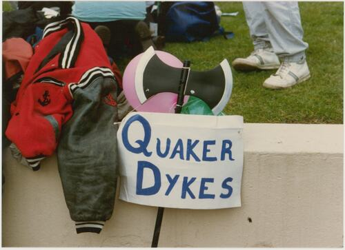 Quaker Dykes sign, photographed at Pride '87 Carnival in Jubilee Gardens, London