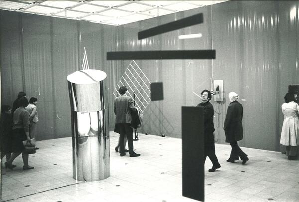 Visitors to Hayward Gallery's 1970 exhibition, Kinetics, view some of the exhibition pieces