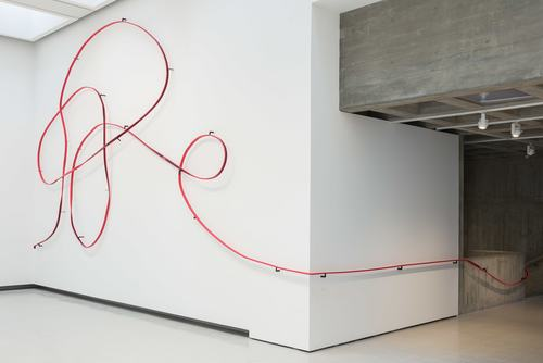 Monika Sosnowska's Handrail (2016–18) in situ at Hayward Gallery as part of the 2018 exhibition Space Shifters
