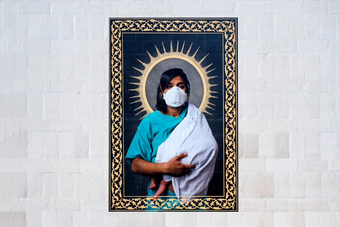 Everyday Heroes: Installation view of Mahtab Hussain, Dr A Shahid with Ember, 2020 at Southbank Centre's Everyday Heroes, on until 7 November 2020. Copyright the artist. Photo credit_ Linda Nylind (4)