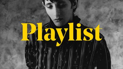 A portrait of Rowland S Howard overlaid with the word 'playlist'