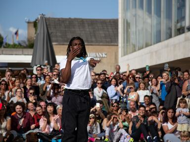 A dancer voguing at Southbank Centre