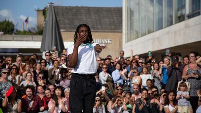 A dancer voguing at Southbank Centre