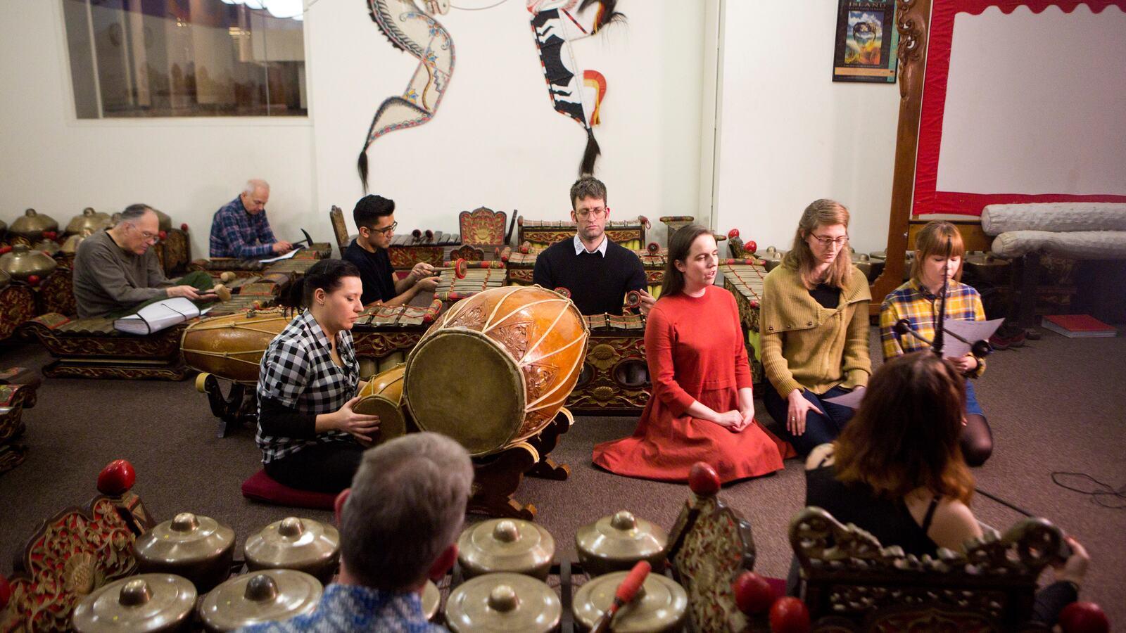 Group of people playing Gamelan