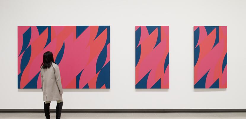 Installation view of Bridget Riley,  Red with Red Triptych, 2010 at Hayward Gallery 2019 © Bridget Riley 2019, Photo: Stephen White & Co