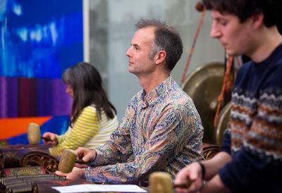 Adult group playing Gamelan