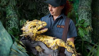 Zookeeper hodling a dinosaur