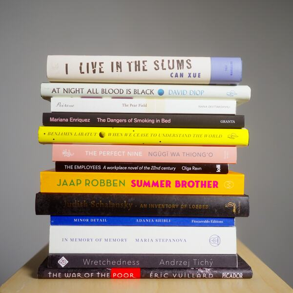 Image of a stack of books - the shortlisted titles from International Booker Prize