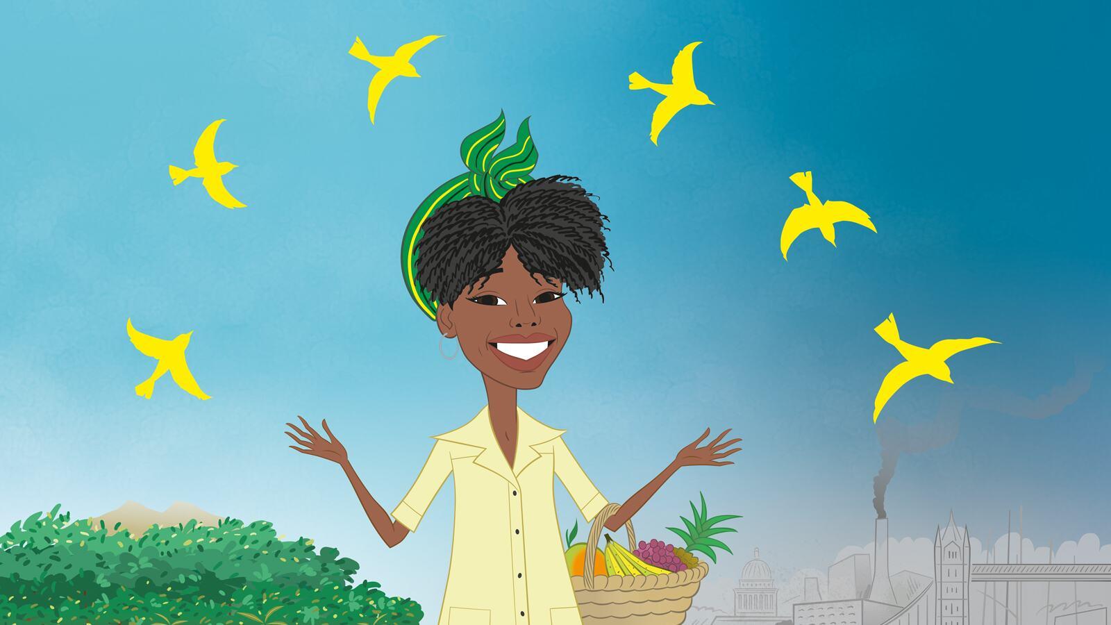 Evelyn & The Yellow Birds, illustration