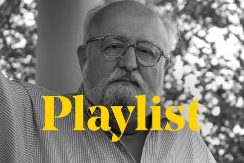 Composer Krysztof Penderecki stands behind the word 'playlist'