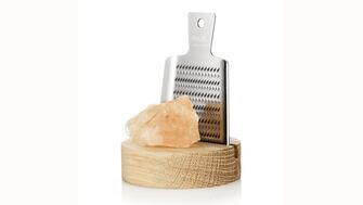 RIVSALT: Himalayan rock salt with miniature grater and small wooden stand