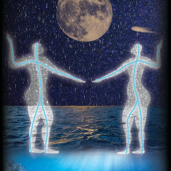 Illustration artwork: two figures on the sea, dancing in the rain looking over a full moon