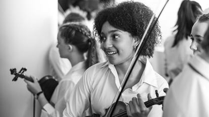 National Children's Orchestras Winter Concert, young girls with violins