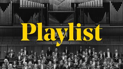 The word 'playlist' over the top of a black and white image of an orchestra standing in Royal Festival Hall