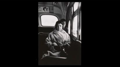 Lady on a bus, N.Y.C. the 1957 photograph by Diane Arbus depicting a woman seated on a city bus, looking directly at the camera