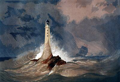 Painting of a ship in the sea near a lighthouse