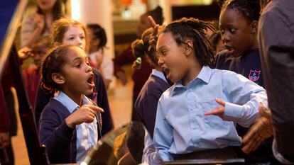 School pupils singing