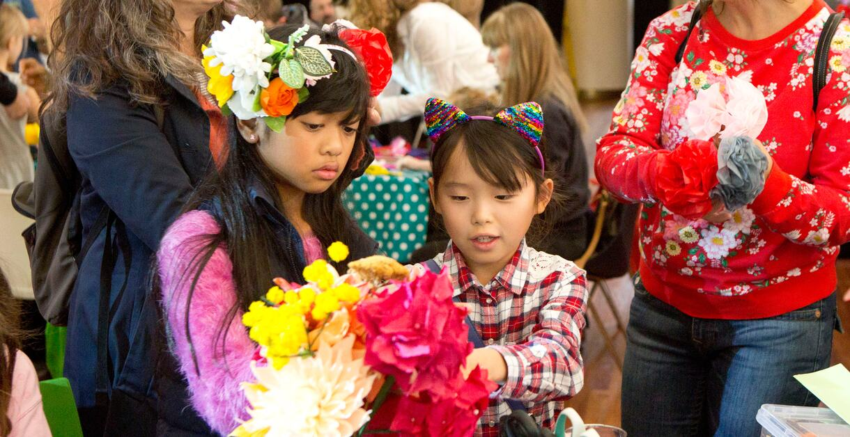 Two children making crafts at Southbank Centre