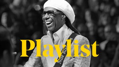 The word 'Playlist' sits over the top of Nile Rodgers standing on stage strumming his guitar