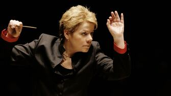 Close-up of Marin Alsop conducting at the Southbank Centre